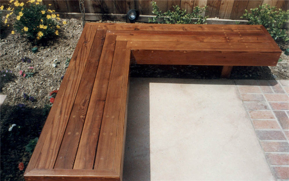 Nice L Shaped Redwood Bench